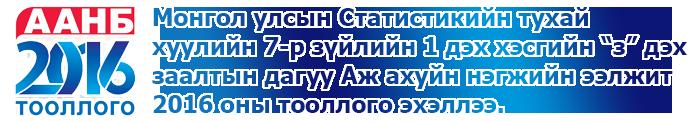 ААНБ 2016 оны тооллого